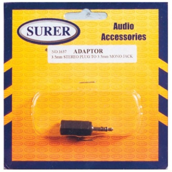 Surer 1637 Adaptor 3.5mm Stereo Plug to 3.5mm Mono Jack