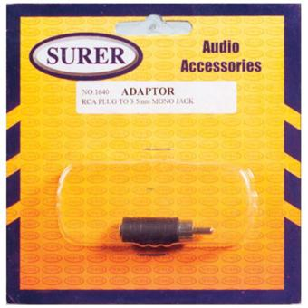 Surer 1640 Adaptor RCA Plug to 3.5mm Mono Jack