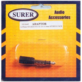 Surer 1645 Adaptor 6.35mm Stereo Plug to 3.5mm Stereo Jack