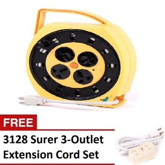 Surer 31107 Cord Reel Set (Yellow/Black) with FREE 3-OutletExtension Cord Set Price Philippines