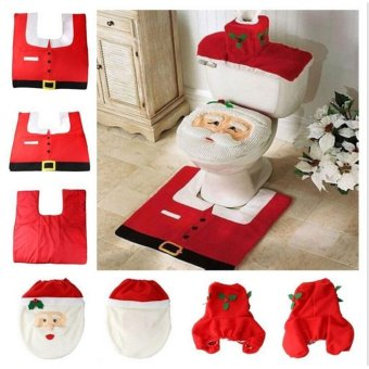 TA Home Christmas Santa Claus Toilet Foot Pad Seat Cover RadiatorCap Bathroom Set TE - intl