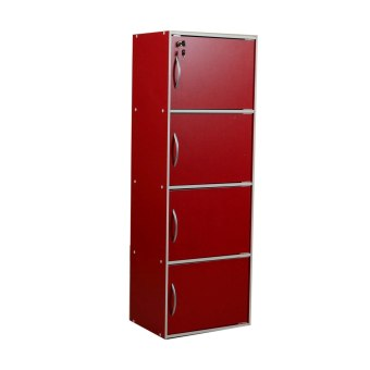 Tailee Furniture ST-400BDF 4-Layer Utility Cabinet Organizer w/Door and Lock (Red)