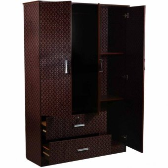 Tailee Furniture WD-320 Multi-functional Wardrobe / Cabinet with 3 Doors and 2 Drawers w/ lock (Wenge Square)