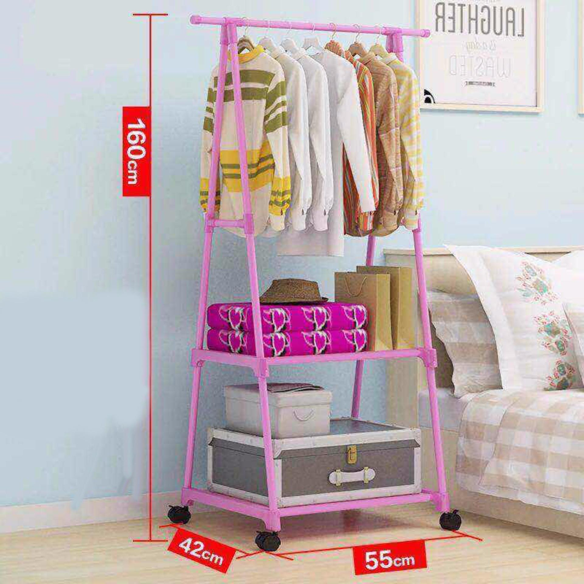 Telescopic Triangle Stainless Steel Clothes Rack (PINK)