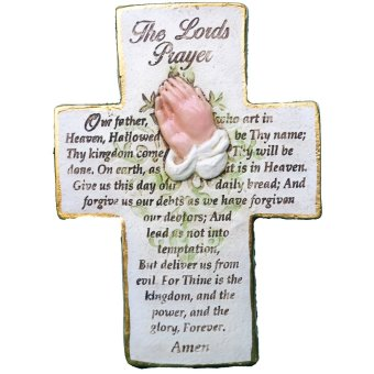 The Lord's Prayer Cross / Our Father Plaque / Wall décor Religious Item (Made of Fiberglass Resin) by Everything About Santa (Christmas decoration and gift suggestion)