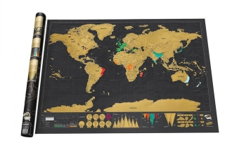ThinkMax Scratch Off World Map Deluxe Edition Poster Personalized Travel Vacation - intl