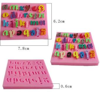 Three-dimensional liquid silicone lettered sugar cake mold
