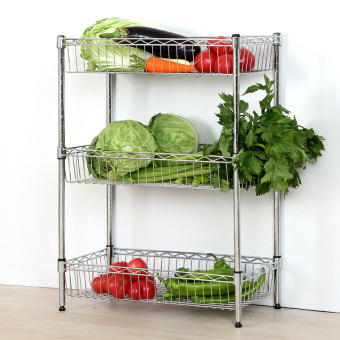 Three layer stainless steel color and vegetables storage rack shelf