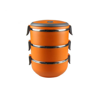 Three Layers Stainless Steel Thermal Bento Lunch Box ThermosInsulation Storage food Container Dinnerware with Handle (Orange)