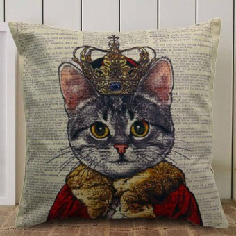 Throw Pillow Case-Canvas Decorative Cat (Multicolor)
