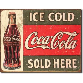 Tin Sign Coke C. 1916 Ice Cold