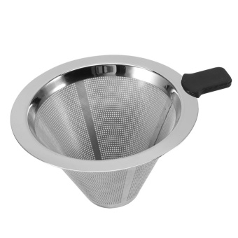 TMISHION Stainless Steel Mesh Pour Over Cone Coffee Dripper Funnel Filter Tea Strainer Silicone Grip - intl