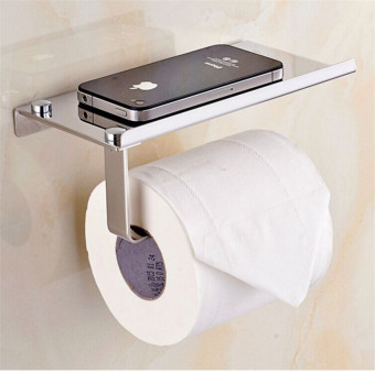 Toilet Paper Holder Wall Mounted with Phone Holder Steel