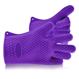 Toprank Resistant Silicone Gloves For BBQ Grill Bake Cooking Kitchen (Purple)