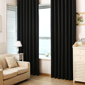 Total polyester full shade curtain 84*66 inch (pure black)