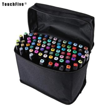 Touch Five Colors Graphic Art Twin Tip Marker Pen color:Blacksize:80pcs - intl