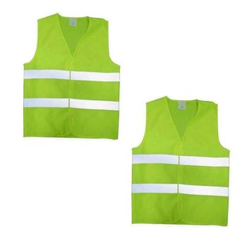 Traffic Reflective Safety Vest Set of 2 (Yellow Green)