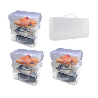 Transparent Clear Plastic Men's Shoe Boxes with Handle, Set of 10