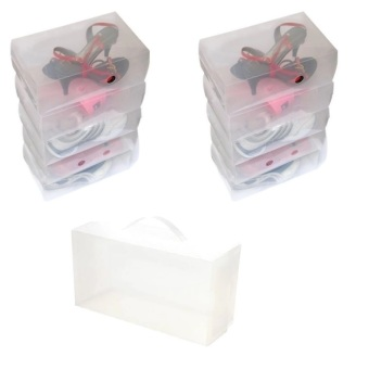 Transparent Clear Plastic Women's Shoe Boxes with Handle, Set of 10