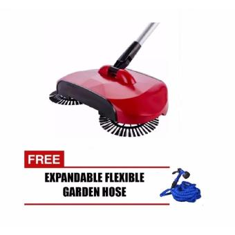 Trendsetter Sweep Drag All-in-one Broom Hand Push Spin Broom (Red)with FREE Expandable Garden Hose up to 50ft