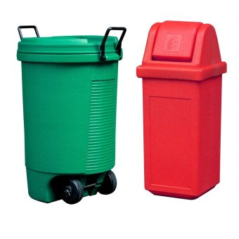 Trolley Bin (Green) and Waste Master Small (Red)
