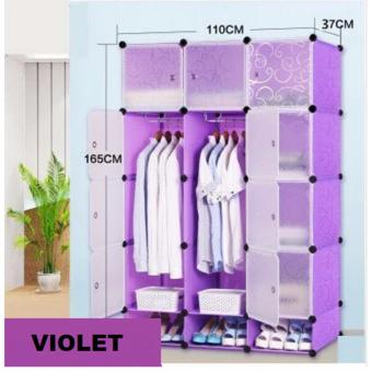 Tupper Cabinet 12 Cubes Doors DIY Storage Cabinet with Bottom Shoe Rack (Violet)