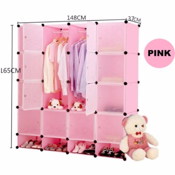 Tupper Cabinet 16 Cubes Doors DIY Storage Cabinet with Bottom Shoe Rack (Pink) Price Philippines