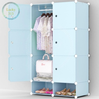 Tupper Cabinet 6 cubes Blue Doors Blue DIY Storage Cabinet with Shoe Rack (Blue) Price Philippines