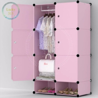 Tupper Cabinet 6 cubes Pink Doors Pink DIY Storage Cabinet with Shoe Rack (Pink)