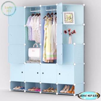 Tupper Cabinet XJ-816 16 cubes Blue Doors Blue DIY Storage Cabinetwith Shoe Rack Blue Price Philippines
