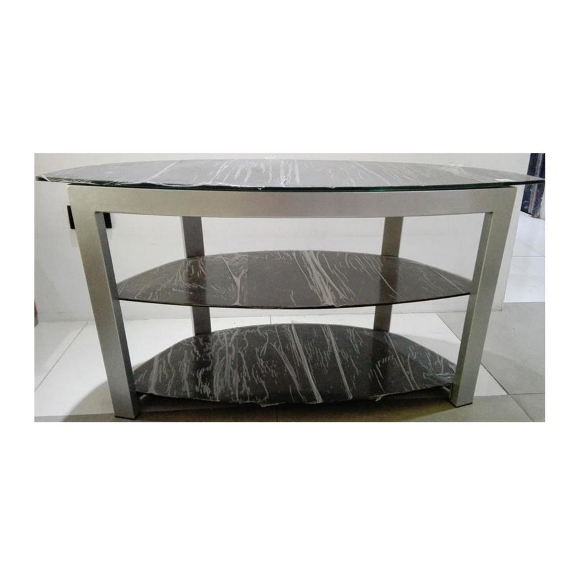 TV Table Rack Metal Glass 813
