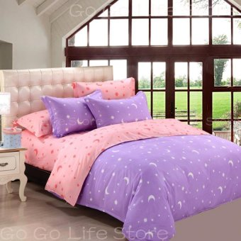 Two-tone Star&Moon Quilt Cover Full/Queen/King Size-31-3# Purple - intl