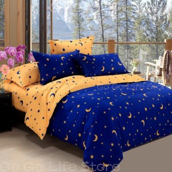 Two-tone Star&Moon Quilt Cover Full/Queen/King Size-31-5# NavyBlue - intl