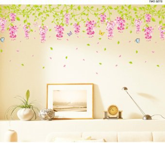 Ufengke Flower Vine and Butterflies Wall Sticker Multicolor - picture 2