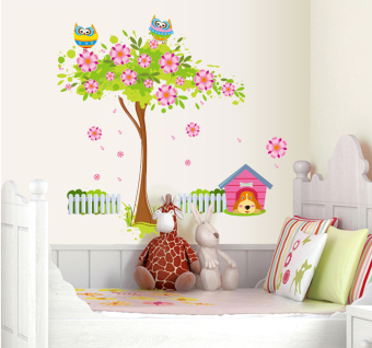ufengke UF-WL0033 Flower Tree Owls and Dog Wall Sticker Multicolor