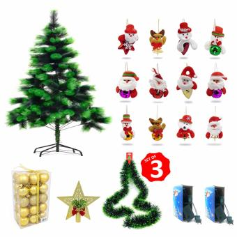 Ultra Christmas Tree Xmas Tree Bundle 6ft. Dark Green/Light Green With Balls Star Top Christmas Light Garland Socks Pair