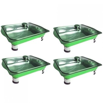 Unibest Stainless Steel Food Tray Serving Dish Set of 4 (Green)
