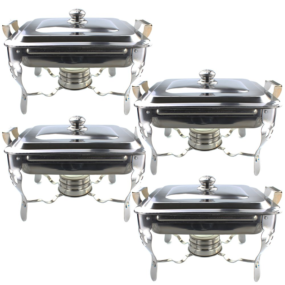 unibest stainless steel food warmer chafing dish with fuel holder for catering set of 4 lazada ph