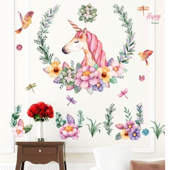Unicorn living room bedroom TV backdrop wall stickers