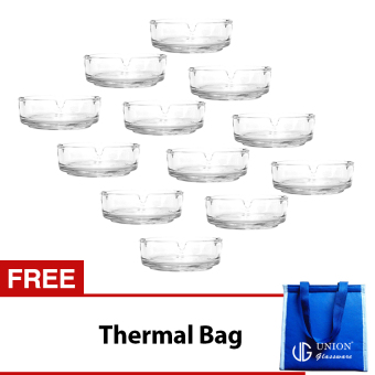 Union Glass Ashtray Set of 12 (Clear) with FREE Thermal Bag