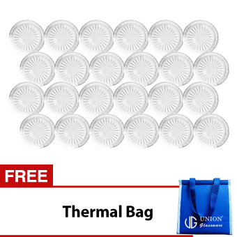 Union Glass Coaster Set of 24 (Clear) with Free Thermal Bag