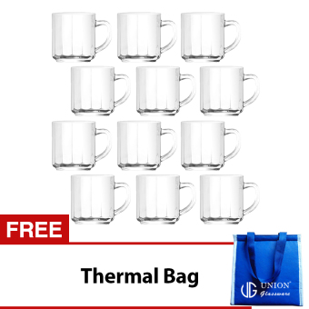 Union Glass Mug 11oz Set of 12 (Clear) with FREE Thermal Bag