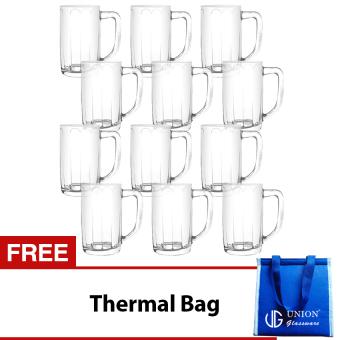 Union Glass Mug 17.5oz Set of 12 (Clear) with FREE Thermal Bag