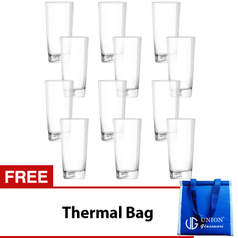 Union Glass Tumbler 11oz Set of 12 (Clear) with FREE Thermal Bag