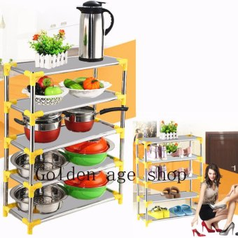 USA TOP ONE BIG 2 in 1 Stackable 4-Layer Shoe Rack & storage rack