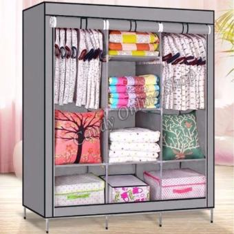 USA TOP ONE lazada and USA best selling Fashion Cloth Storage Wardrobe (Grey)