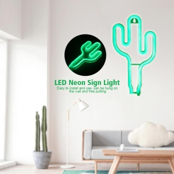 USB Charging LED Neon Sign Light Home Wedding Christmas Decor Lamp-Cactus Type - intl