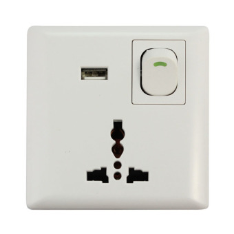 USB Wall Power Supply with On/Off Switch All In One Socket (White)