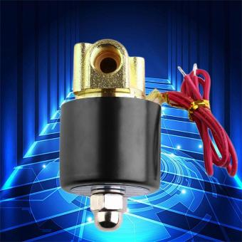 USTORE 12V DC 1/4 inch Electric Solenoid Valve N/C for Water Diesel2-Way/Position black and golden - intl