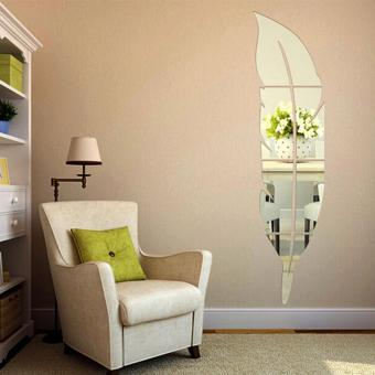 USTORE Beautiful Feather Shape Wall Sticker Home 3D Mirror WallDecorative Stickers 15*72CM - intl
